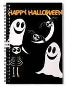 Halloween Bats Ghosts And Cat Spiral Notebook