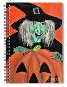 Halloween Witch And Pumpkin Art Spiral Notebook