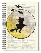 Witch Flying With Full Moon Spiral Notebook
