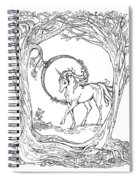 Haloed Unicorn In The Woods Spiral Notebook