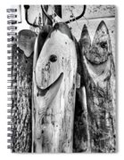 Hand Carved Fish Sculptures B Spiral Notebook