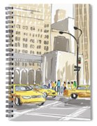 Hand Drawn Sketch Of A Busy New York City Street Spiral Notebook