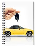 Hand Holding Key To Yellow Sports Car Spiral Notebook