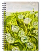 Hand Painted Picture, Meadow With White Dandelines Spiral Notebook