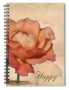 Happy Birthday Peach Rose Card Spiral Notebook