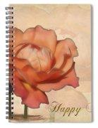 Happy Birthday Peach Rose Card Spiral Notebook