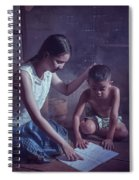 Happy Family Sisters And Brothers Read Books In The Evening At H Spiral Notebook