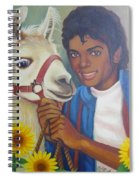 Happy Michael Jackson With His Pet Llama  Spiral Notebook