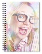 Happy Nerd Girl Singing Karaoke And Dancing Spiral Notebook