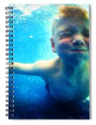 Happy Under Water Pool Boy Square Spiral Notebook