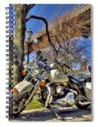 Harley Davidson And Brooklyn Bridge Spiral Notebook