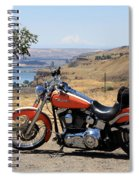 Harley With Columbia River And Mt Hood Spiral Notebook