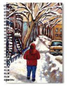 Winter Walk After The Snowfall Best Montreal Street Scenes Paintings Canadian Artist Paysage Quebec Spiral Notebook