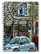 Achetez Les Meilleurs Scenes De Rue Montreal St Henri Cafe Original Montreal Street Scene Paintings Spiral Notebook
