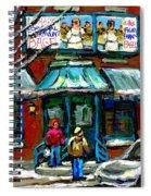 Achetez Les Meilleurs Scenes De Rue Montreal Boulangerie St Viateur Original Montreal Street Scenes  Spiral Notebook