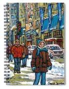 Achetez Les Meilleurs Scenes De Rue Montreal Best Original Art For Sale Montreal Streets Paintings Spiral Notebook