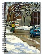 Canadian Artist Winter Scenes Original Paintings Quebec Streets Achetez  Montreal Art Online Spiral Notebook