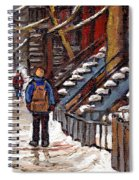 Canadian Art Winter Streets Original Paintings Verdun Montreal Quebec Scenes Achetez Les Meilleurs Spiral Notebook