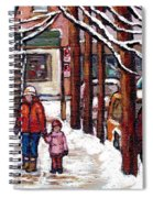 Canadian Winter Scene Paintings Original Art Verdun Montreal Achetez Scenes De Rue Quebec C Spandau  Spiral Notebook