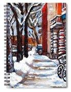 Canadian Winter Scene Paintings Original Art Verdun Montreal Achetez  Paysages De Quebec C Spandau Spiral Notebook