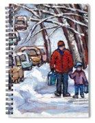 Paysages De Verdun Quebec A Vendre Original Verdun Montreal Winter Staircase Street Scene Paintings  Spiral Notebook