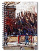 Paysages De Quebec Petits Formats A Vendre Hockey Rink Paintings Psc Original Montreal Street Scenes Spiral Notebook