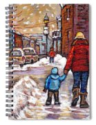 Original Montreal Street Scene Paintings For Sale Winter Walk After The Snowfall Best Canadian Art Spiral Notebook