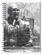 Harry Caray Statue With Historic Wrigley Scoreboard Bw Spiral Notebook