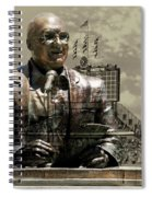 Harry Caray Statue With Historic Wrigley Scoreboard In Heirloom Spiral Notebook