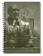 Harry Caray Statue With Historic Wrigley Scoreboard Spiral Notebook