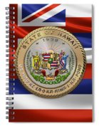 Hawaii Great Seal Over State Flag Spiral Notebook