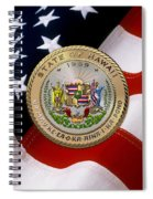 Hawaii State Seal Over U.s. Flag Spiral Notebook