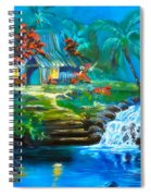 Hawaiian Hut And Waterfalls Spiral Notebook