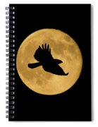 Hawk Flying By Full Moon Spiral Notebook