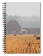 Hay Bales And Red Barn At Sunrise Spiral Notebook