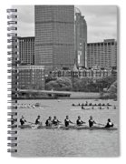 Head Of The Charles. Charles Rowers Black And White Spiral Notebook