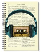 Blue Headphone And Yellow Cassette Collage Print Spiral Notebook