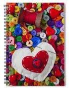 Heart Pushpin Chusion  Spiral Notebook