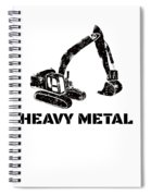 Heavy Metal Digger Funny Cute Backhoe Bulldozer Black Spiral Notebook