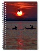 Heron And Kayakers Sunset Spiral Notebook