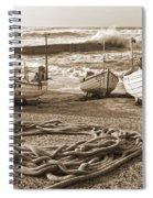 High Tide In Sennen Cove Sepia Spiral Notebook