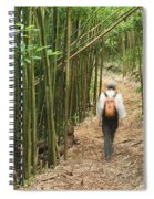 Hiker In Bamboo Forest Spiral Notebook