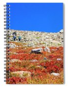 Hikers And Autumn Tundra On Mount Yale Colorado Spiral Notebook