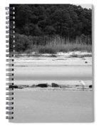 Hilton Head Island Shoreline In Black And White Spiral Notebook