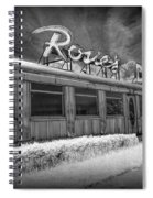 Historic Rosie's Diner In Black And White Infrared Spiral Notebook