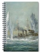 Hms Exeter Engaging In The Graf Spree At The Battle Of The River Plate Spiral Notebook