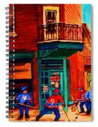 Hockey At Wilenskys Corner Spiral Notebook