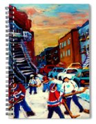 Hockey Paintings Of Montreal St Urbain Street City Scenes Spiral Notebook