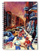 Hockey Paintings Of Montreal St Urbain Street Winterscene Spiral Notebook