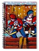 Hockey Rink Paintings New York Rangers Vs Habs Original Six Teams Hockey Winter Scene Carole Spandau Spiral Notebook